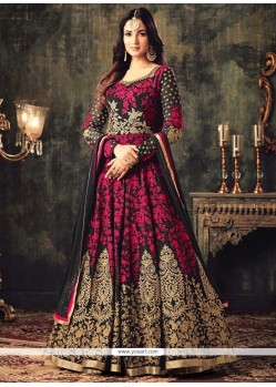 Faux Georgette Hot Pink Resham Work Floor Length Anarkali Suit