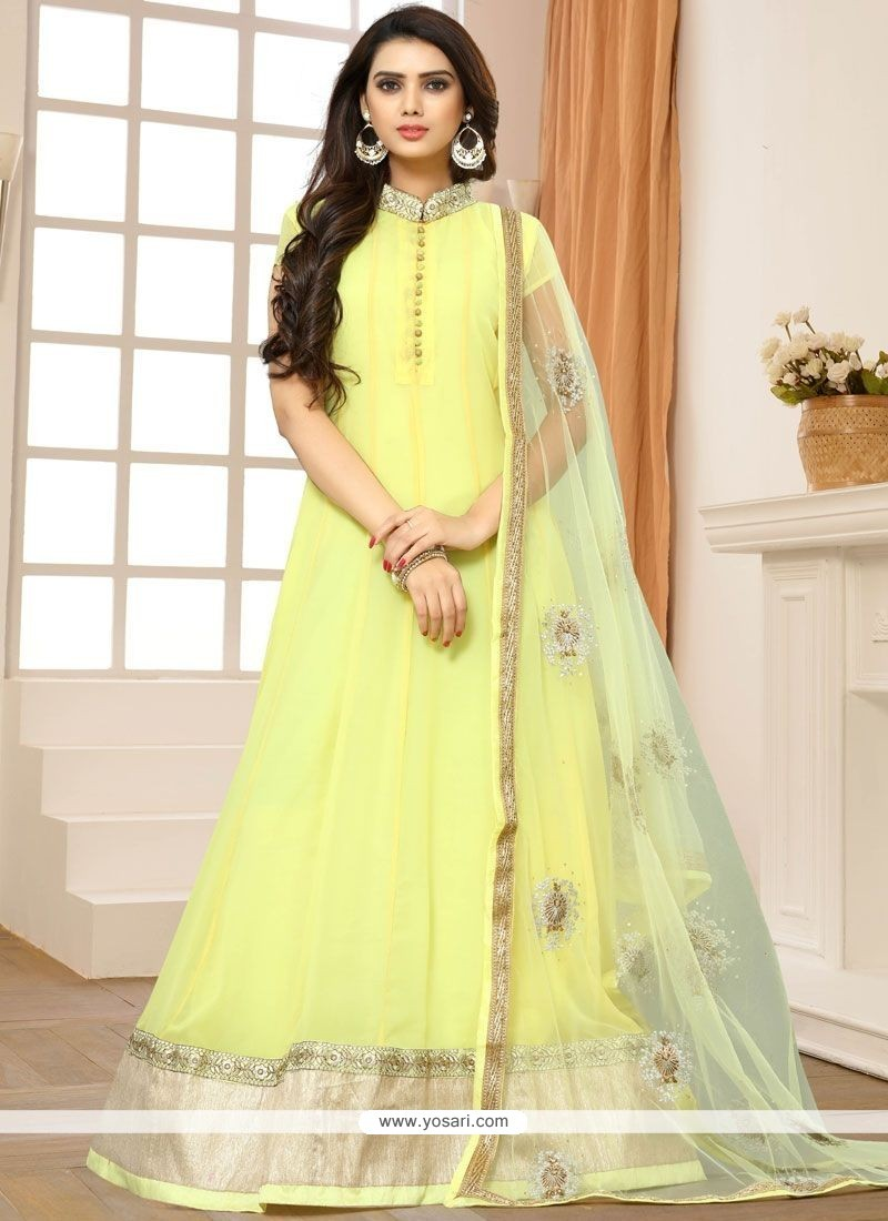 a8ede1e40fb Buy Embroidered Faux Georgette Floor Length Anarkali Suit In Yellow ...