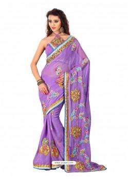 Violet Embroidered Work Designer Saree