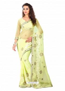 Green Shade Embroidered Work Designer Saree