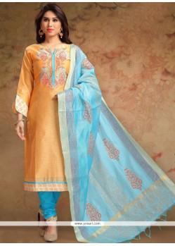 Print Work Orange Chanderi Churidar Designer Suit