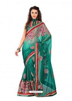 Green Embroidered Work Designer Saree