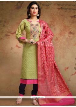 Green Chanderi Churidar Designer Suit