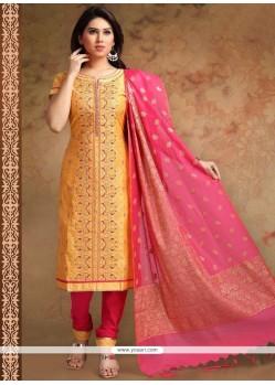 Chanderi Orange Print Work Churidar Designer Suit
