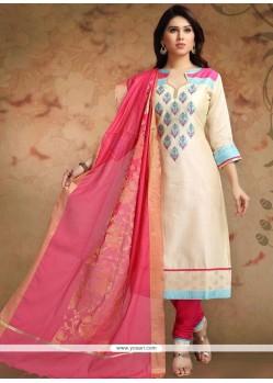 Cream And Pink Print Work Chanderi Churidar Designer Suit