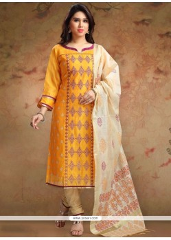 Chanderi Print Work Churidar Designer Suit