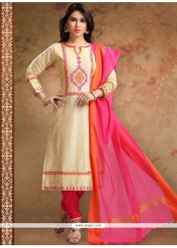 Cream Paisley Print Work Churidar Designer Suit