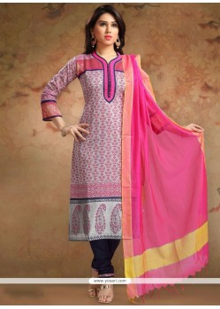 Blue And Pink Churidar Designer Suit