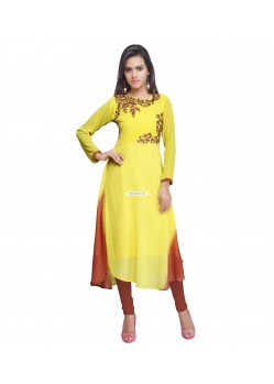 Yellow Faux Georgette Party Wear Kurti