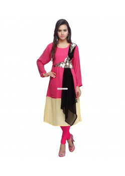 Faux Georgette Pink Party Wear Kurti