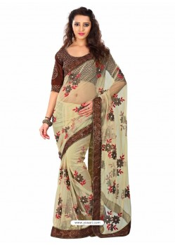 Cream And Brown Embroidered Work Designer Saree
