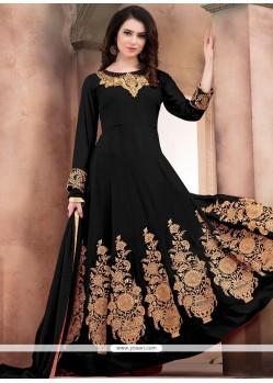 Faux Georgette Black Zari Work Anarkali Salwar Kameez