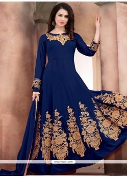 Blue Embroidered Work Faux Georgette Anarkali Salwar Kameez