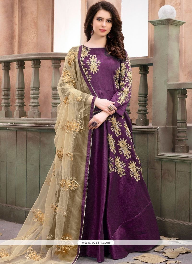5ad0dfcee5e Buy Malbari Silk Purple Anarkali Salwar Kameez | Anarkali Suits
