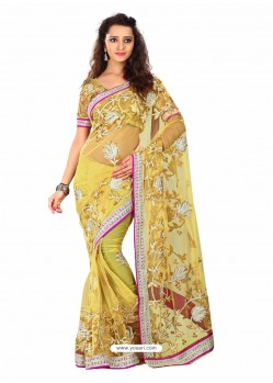 Mustard Embroidered Work Designer Saree