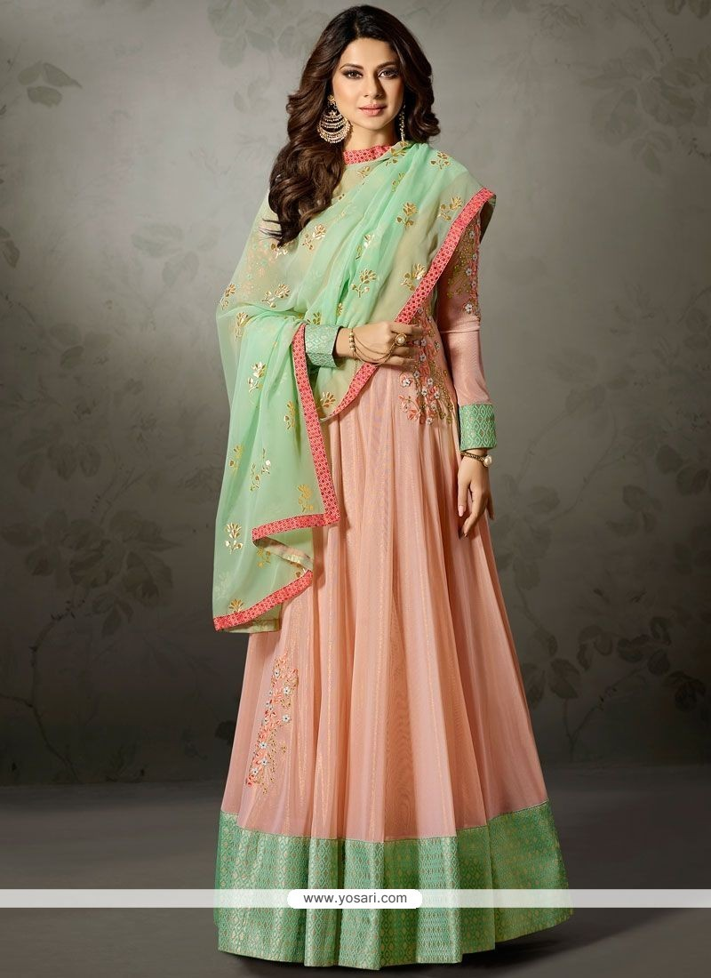 4b53ea345c Buy Jennifer Winget Lace Work Lycra Floor Length Anarkali Suit ...