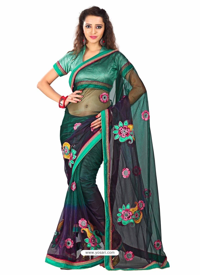 Green Shade Embroidered Work Designer Saree