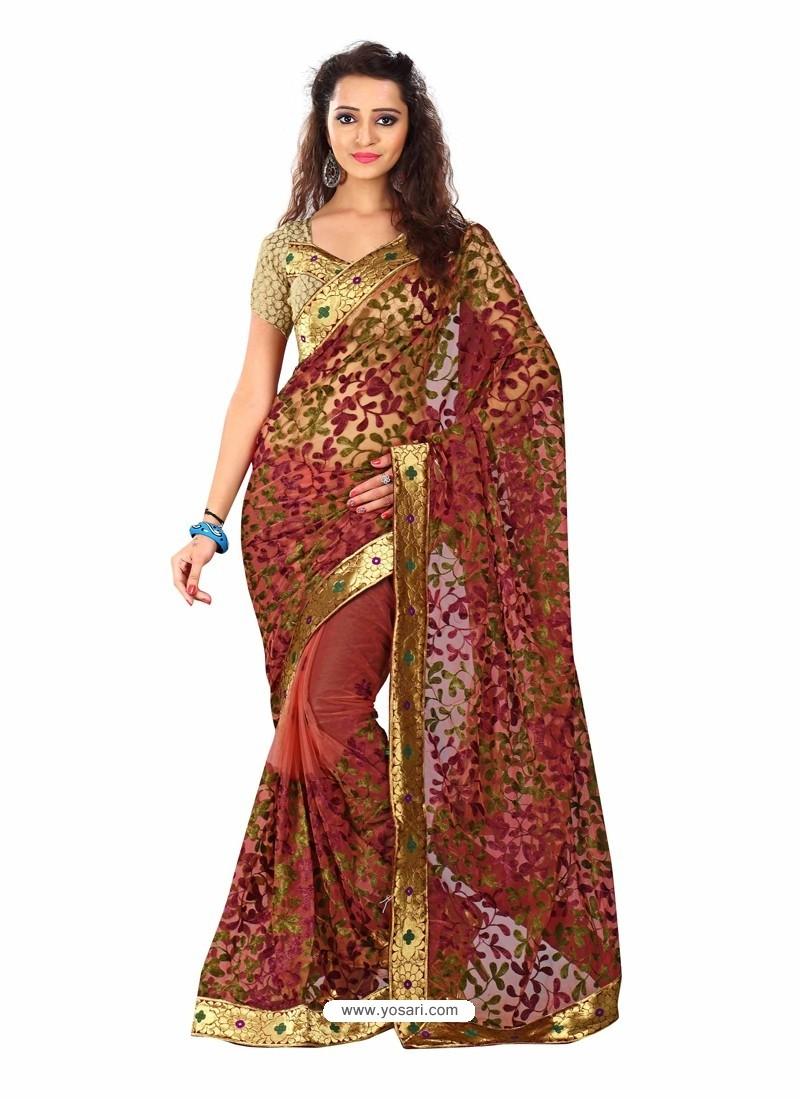 Maroon Embroidered Work Designer Saree