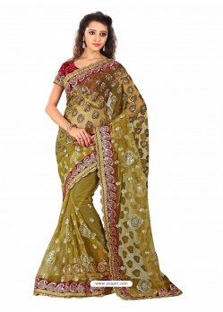 Beige Embroidered Work Designer Saree