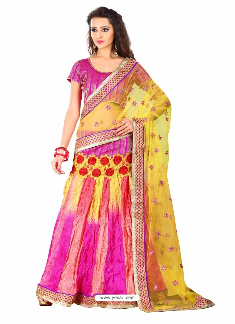 Multicolor Embroidered Work Lehenga Saree