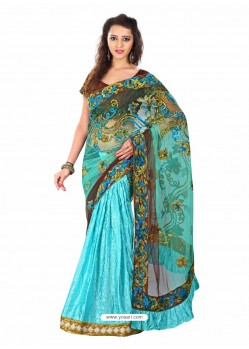 Sky Blue Embroidered Work Designer Saree