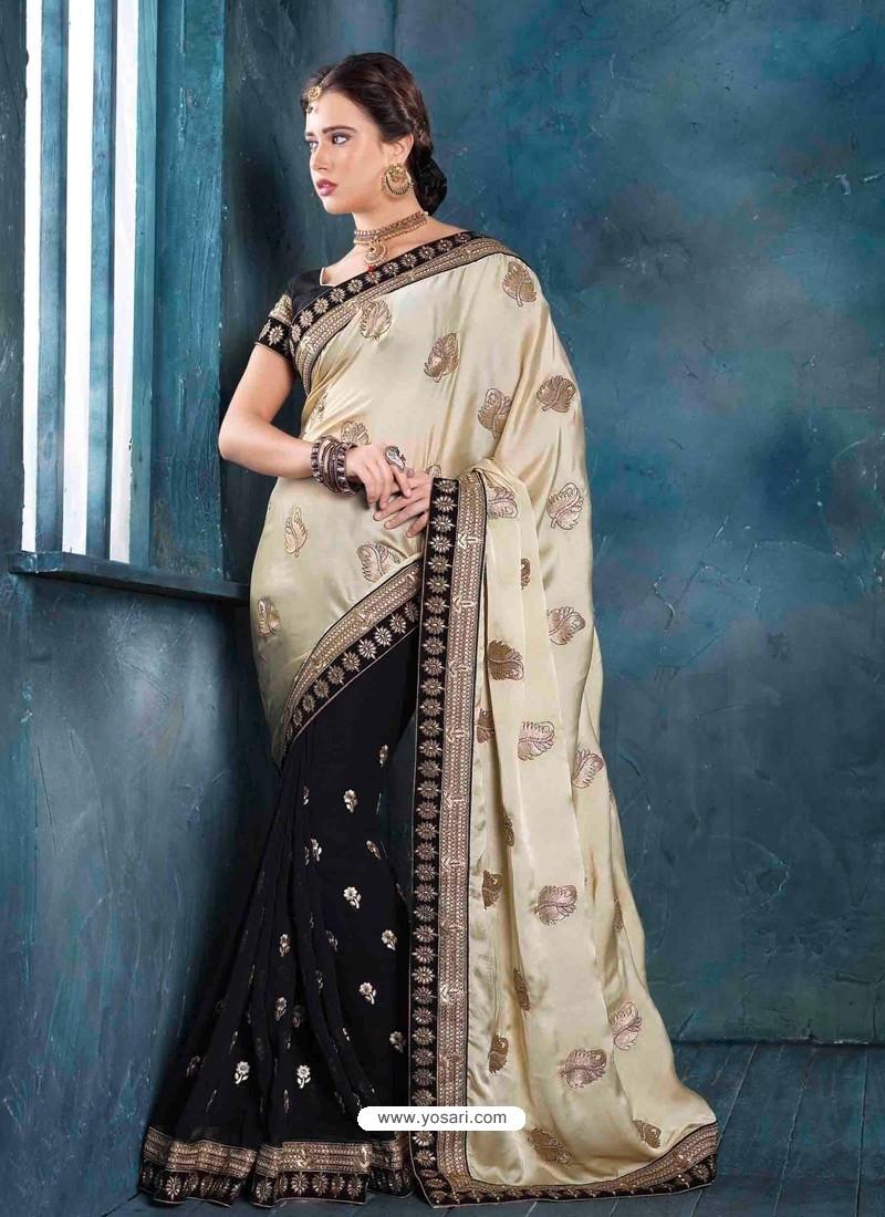 Black And Cream Raw Silk Designer Saree