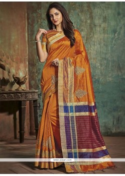 Woven Art Silk Traditional Designer Saree In Orange