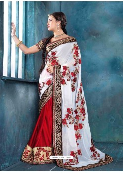 White And Red Raw Silk Designer Saree