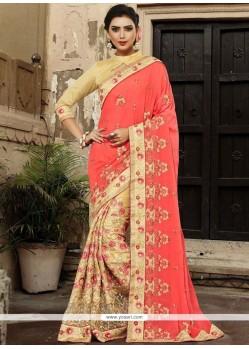Beige And Pink Half N Half Designer Saree