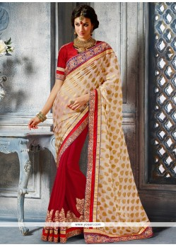 Charismatic Red And Cream Georgette Designer Saree