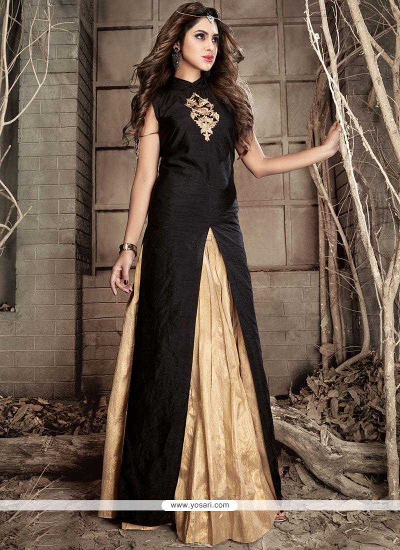 57f6547ff7 Buy Beige And Black Resham Work Banarasi Silk Designer Suit ...