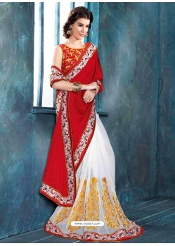 Red And White Raw Silk Designer Saree