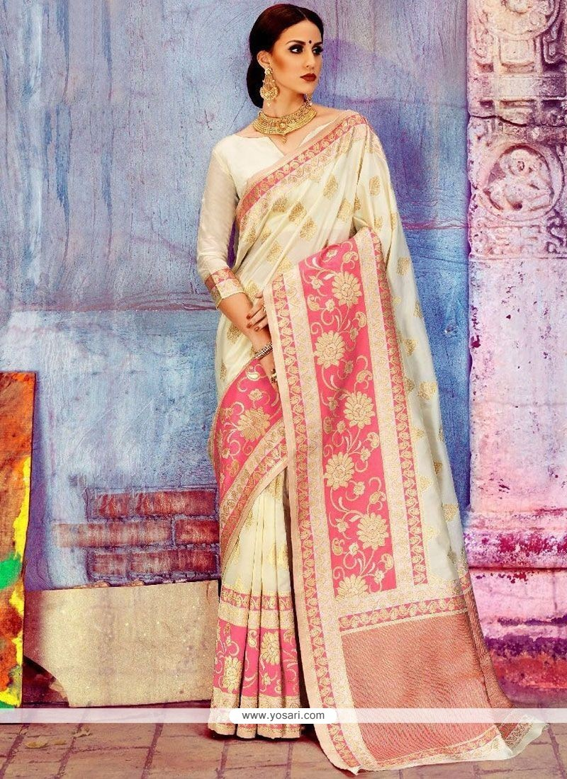 f2c14c9013b58 Buy Weaving Art Silk Traditional Saree In White