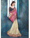 Cream And Pink Brocade Designer Saree