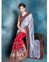 Red Raw Silk Designer Saree