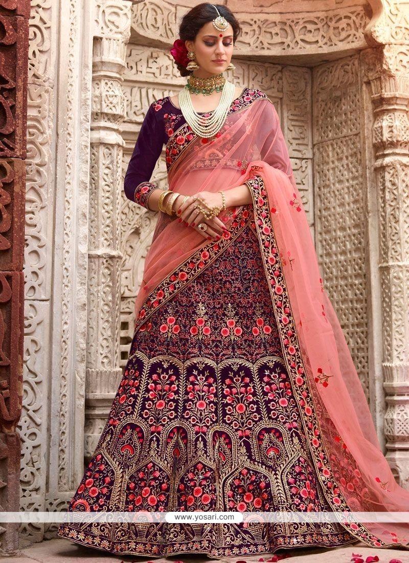 19d8e1c526 Buy Resham Work Navy Blue Velvet Lehenga Choli | Wedding Lehenga Choli