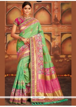 Art Silk Green Weaving Work Traditional Designer Saree