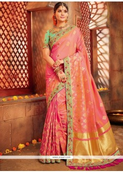 Peach Designer Traditional Saree