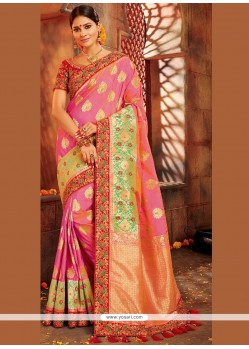 Art Silk Pink Embroidered Work Traditional Saree