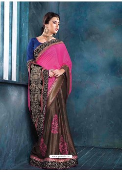 Pink And Brown Raw Silk Designer Saree