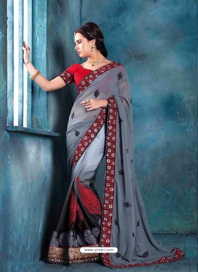 Grey Raw Silk Designer Saree