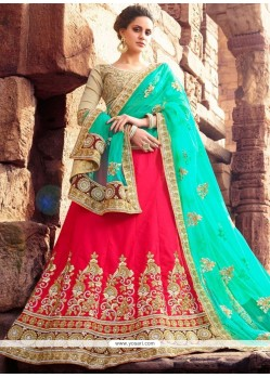 Art Silk Hot Pink And Sea Green Lehenga Choli