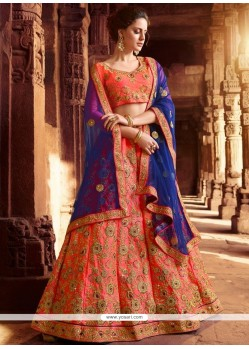 Rose Pink Patch Border Work Art Silk Lehenga Choli