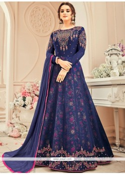 Faux Georgette Navy Blue Embroidered Work Floor Length Anarkali Suit