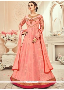 Resham Work Faux Georgette Pink Floor Length Anarkali Suit