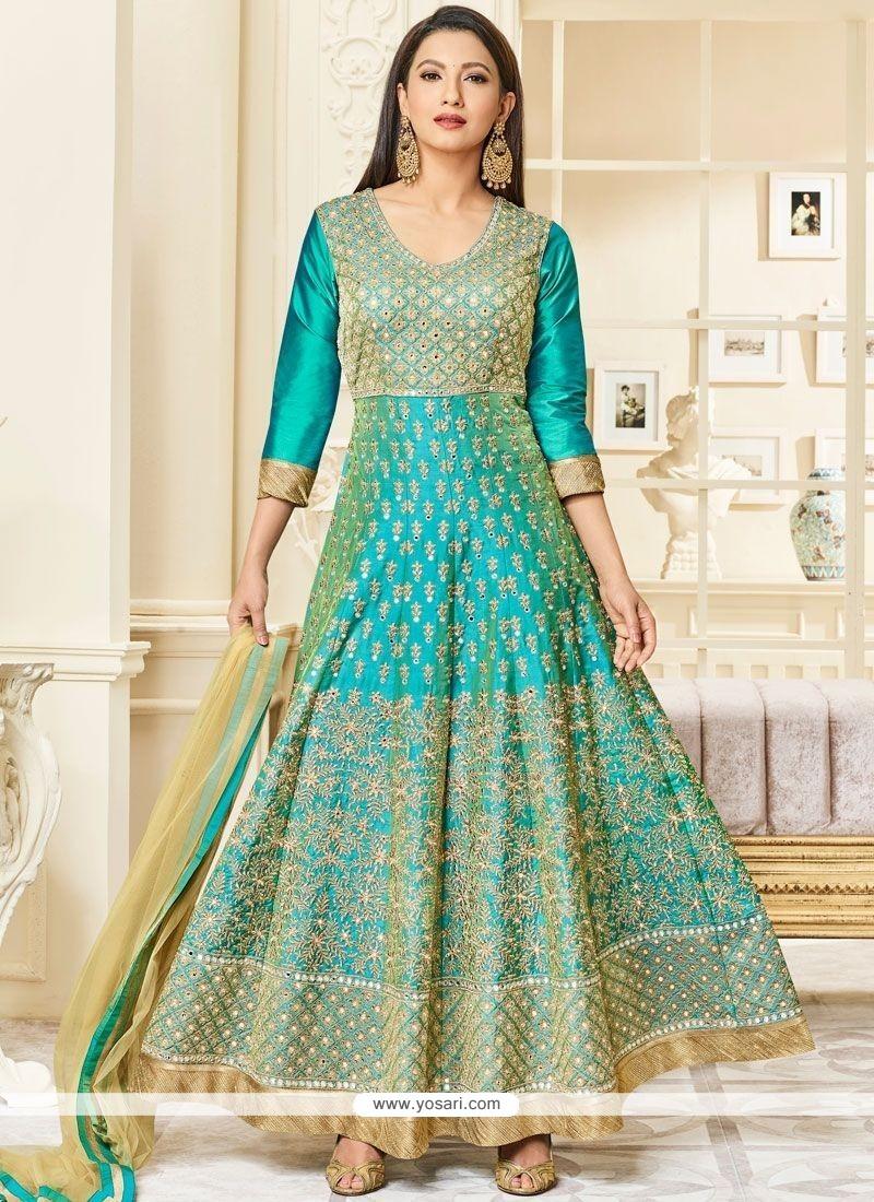 a96a66fa89 Buy Gauhar Khan Sea Green Floor Length Anarkali Suit | Anarkali Suits