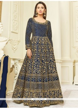 Gauhar Khan Blue Floor Length Anarkali Suit