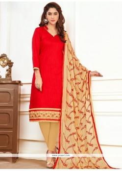Embroidered Work Red Cotton Churidar Suit