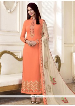 Orange Designer Straight Suit
