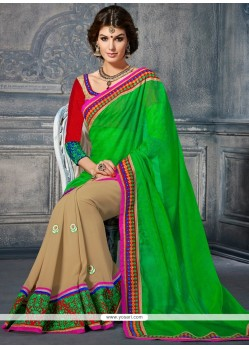 Baronial Green Super Net Designer Saree
